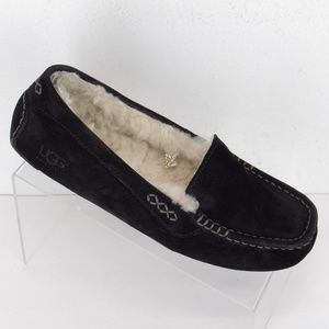 UGG Suede Ascot Sheepskin Slippers 8 Black #199